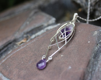 Sterling Silver Wire Wrapped Amethyst Crystal Shard Pendant Necklace - February Birthstone - Intricate Lattice Wrap - Fantasy / Elvish