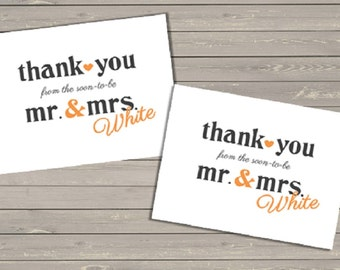 Mr. & Mrs. Wedding Thank You Card - Printable File