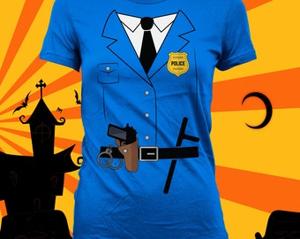 Police Man Halloween Shirt - Funny Halloween Shirt, Cops Uniform Costume, Cop Costume Idea, Police Woman Shirt, Halloween Party Shirt CT-756