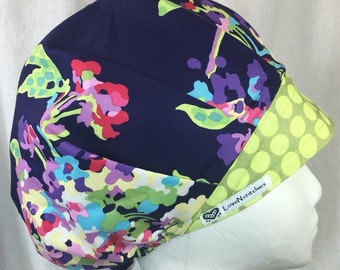 Love Scrub Hat Surgical Cap Scrub Hats for Women Bouffant Bonnet Surgery Tech OR Nurse Medical Amy Butler Purple Green LoveNstitchies