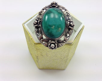 Art Nouveau Sterling Turquoise Ring
