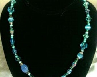 Necklace With Blue Glass Beads!!!