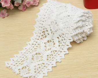 2 Yards WHITE Lace Trim Cotton Stretch Embrodiered Lace Trim Piping Dress Sewing Trim 8cm Wide