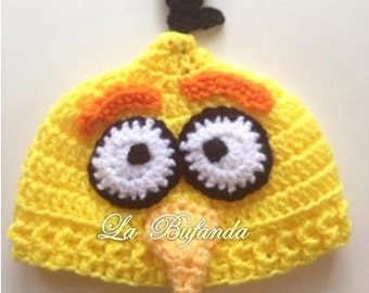 Chuck-Angry Birds Crochet Hat - Inspired Green Beanie with Earflaps - Kids and Adults Hats - Yellow Beanie