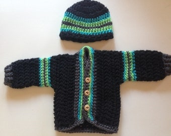 Crochet Baby Set - Crochet Baby Sweater and Beanie - Black, Blue, Green and Gray Crochet Set