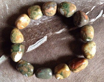 Indian agate chunky, stretchy bracelet