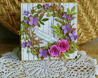 Handmade Greeting Card - floral garland - thinking of you
