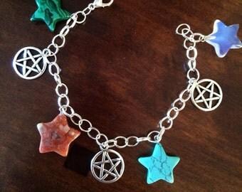 The Four Elements Charms Bracelet Silver Pagan