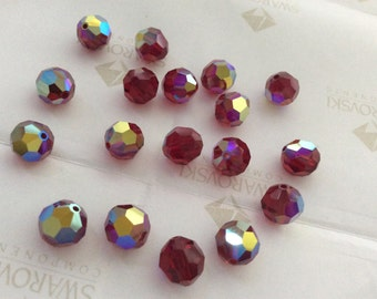 Swarovski #5000 Crystal Siam AB Round Ball Faceted Beads 5mm 6mm 8mm 10mm