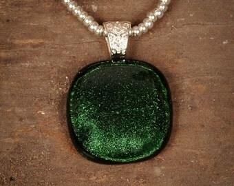 Dark Emerald Green Fused Glass Pendant