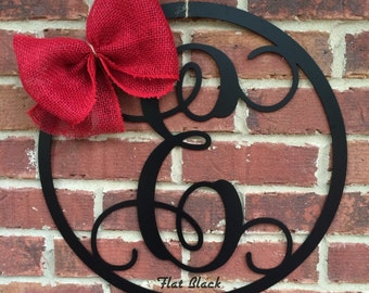 "18"" METAL MONOGRAM LETTER with circle border; wreath, door/wall hanging/initial"