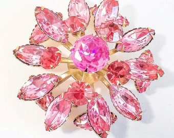 Vintage Verified Early Beau Jewels Unsigned Pink & Gold Layered Stacked Dimensional Rhinestone Brooch. Sunburst Starburst. Marquise + R