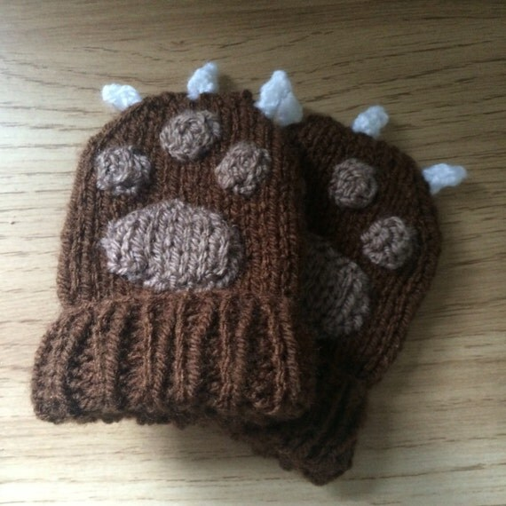 Baby mittens bear paw animal gloves baby scratch mitts baby girl baby boy winter christmas gift xmas paws