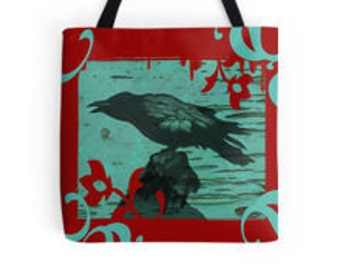 Raven - Tote Bag In Aqua and Red