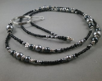 "Black and grey breakaway beaded lanyard necklace with bead chain 30"" to 42"" ID badge holder leash magnetic or toggle clap ,unique and cute"