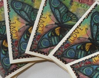 Love Butterfly -- Set of 6 Notecards 4.25 x 5.5 inches -- by Lori Perez/butterflies/butterfly/christian/catholic/inspiration/hope/faith/joy