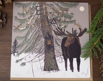 Illustrated Moose Christmas card - decorated tree version