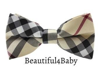 Tartan Baby Bow Tie, Tartan Plaid Bow Tie, Toddler Bow Tie, Baby Bow Tie, Little Boy Plaid Bow Tie, Toddler Plaid Bow Tie- Tan