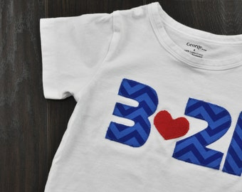 "Down Syndrome Awareness Onesies / T-shirts ~ Girls and Boys, Baby, Toddler, and Child sizes - Blue ""321"" with Red Heart on White"