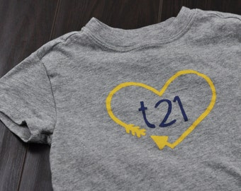 "Down Syndrome Awareness Shirts ~ Girls and Boys, Grey T-shirt with Yellow and Blue ""T21"" Logo with Arrow Heart"