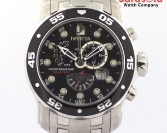 Invicta 6086 Black Dial Stainless Steel Power Reserve Quartz Men's Watch