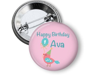 Birthday Badge Personalised with Name - 1st Birthday 5.7cm (2.25 inches)
