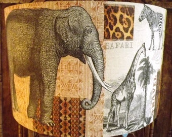 Shabby Chic Lamp Shade African Elephant Safari ,Giraffe,Zebra,palm trees,brown cream lightshade Fatta da Mamma FREE GIFT