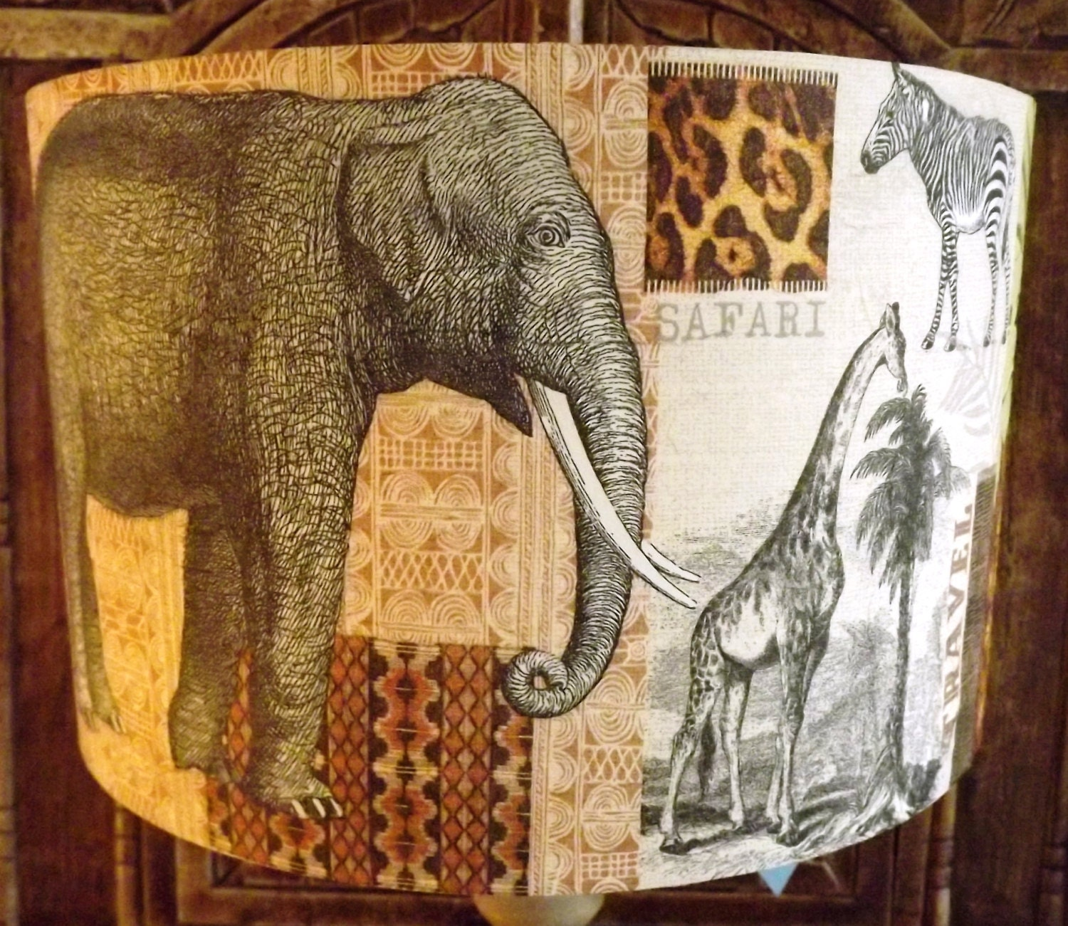 Shabby Chic Lamp Shade African Elephant Safari