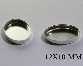 Sterling Silver Oval Bezel Cups 12x10 mm