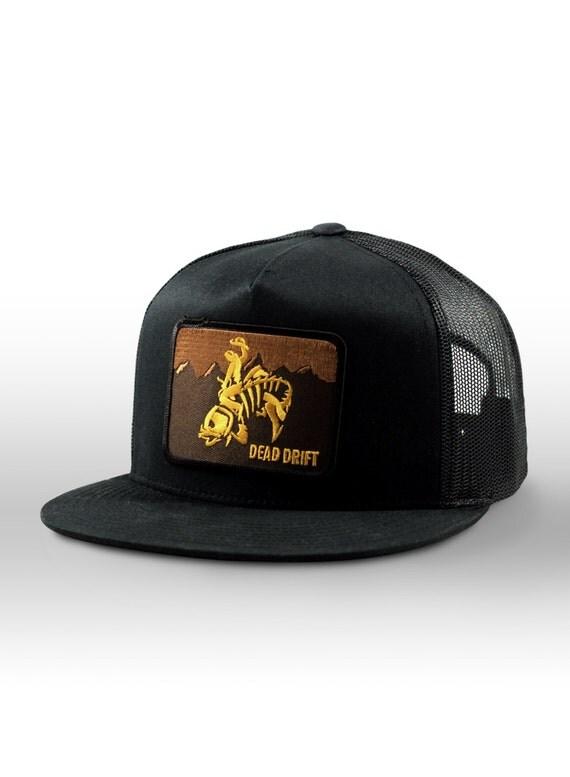 Fly fishing hat wild west wyoming flat bill black by deaddrift for Flat bill fishing hats