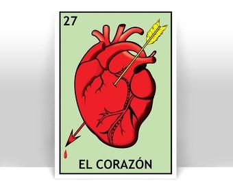El Corazon Loteria - The Heart Mexican Bingo Art Print - Poster - Many Sizes