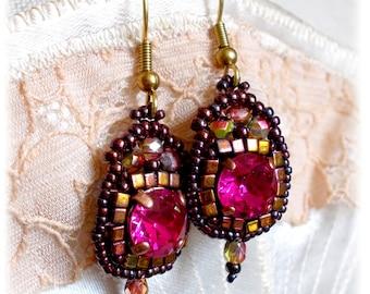 Earrings Paloma, Rose Fuschia, Bohemian-inspired, Oriental, Baroque