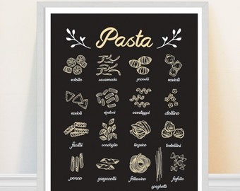 Pasta Print - Kitchen Art Print - Italian Food Print - Kitchen Illustration - Foodie Art - Restaurant Decor
