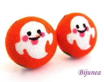Ghost earrings - Orange ghost stud earrings - Ghost studs - Ghost posts - Halloween earrings sf1055