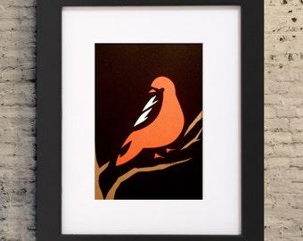 "5x7"" Oriole Minimalist Art, Oriole Paper Cutout, Paper Cutout Illustration, Oriole Illustration, Oriole Gift, Oriole Gift"