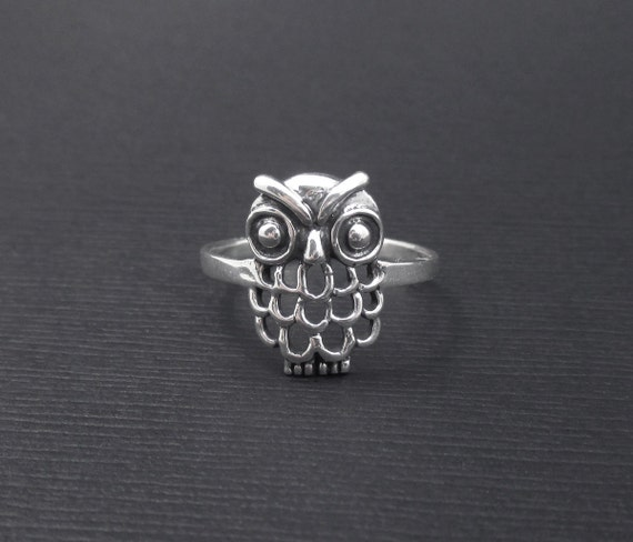 owl ring sterling silver size 9 stackable ring bird