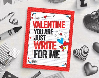 "PRINTABLE ""You Are Write for Me"" Valentine's Day Card - Classroom Cards - Valentine's Gift Tags - Digital Download"