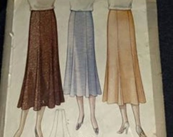 Early Vintage McCall 6505 Gored Skirt Sewing Pattern size 32, waist 32, hips 41