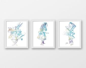 Watercolor Alice in Wonderland Art Print Set - Home Decor - Dorm Decor - Office Decor - Set of 3