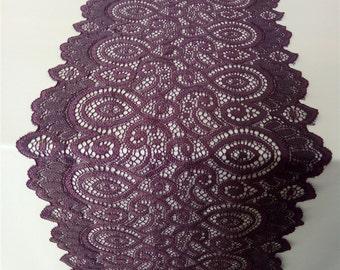 "Eggplant purple table runner, 7"" , wedding table runner ,  table runner,  wedding runners, table runners, lace table runner  R121601"