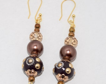 Hand made, bronze and brown, Bead Earrings, gold Earwires