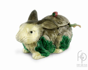 Haidon Group Bunny Rabbit Tureen With Leaves and Eggplant Shaped Ladle 1985 Great Easter or Spring Decor