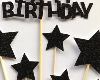 Black Happy Birthday Cake Toppers, Black Glitter Birthday & Star Cake Toppers, Birthday Cake Toppers, Assortment Pack