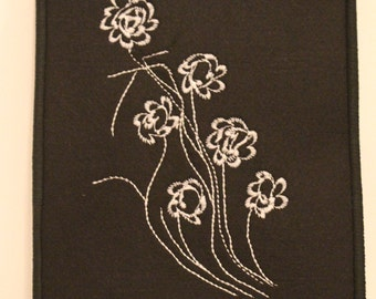 black and white embroidered  patterned felt kindle cover