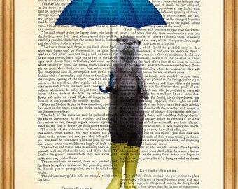 Otter With Umbrella and Yellow Rain Boots DICTIONARY ART PRINT on Vintage Dictionary Page 8'' x 10'' from upcycled book