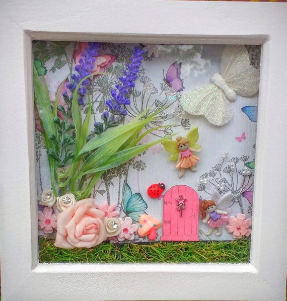 Fairy door scene box frame fairy garden wall art secret for Fairy door wall art