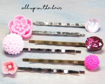 Pink Bobby Pins - Bobby Pin Set - Pink Hair Pins - Flower Bobby Pins - Crystal Bobby Pins
