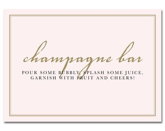 INSTANT DOWNLOAD - Printable Champagne Bar Sign - 5x7 - Pink & Gold - Champagne Bridal Shower