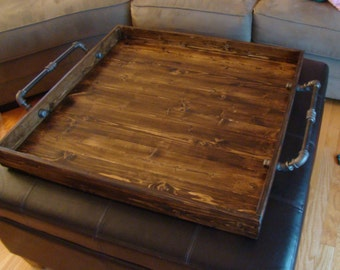 rustic ottoman tray wooden tray serving tray coffee table