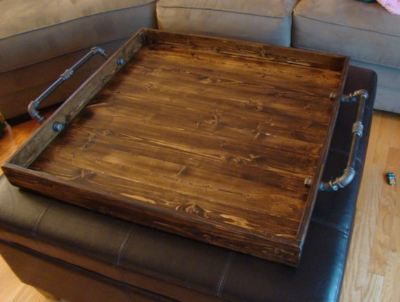 Industrial Style Ottoman Tray Rustic Ottoman Tray Wooden